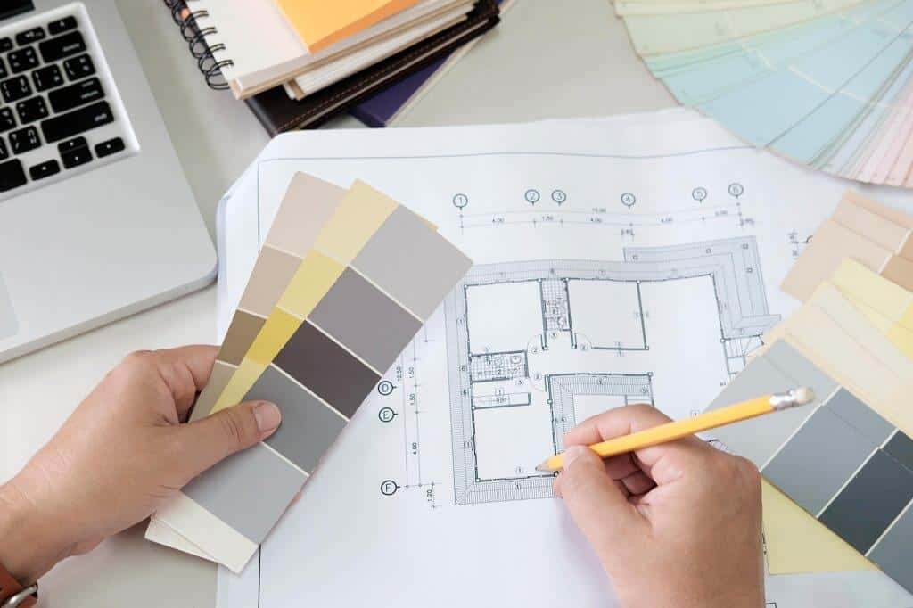 Drawing for interior design and color selection